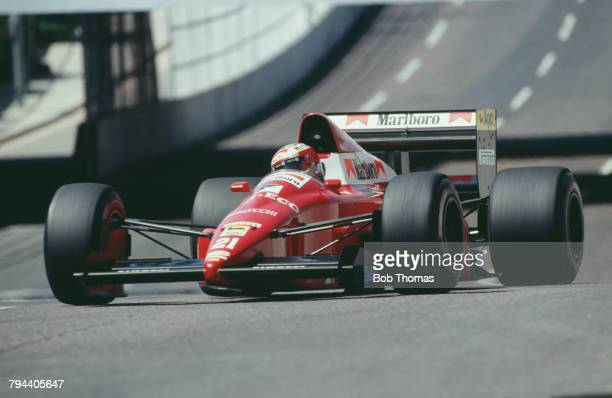 Italian racing driver Alex Caffi drives the Scuderia Italia Dallara 189 Cosworth V8 in the 1989 United States Grand Prix in Phoenix Arizona on 4th...
