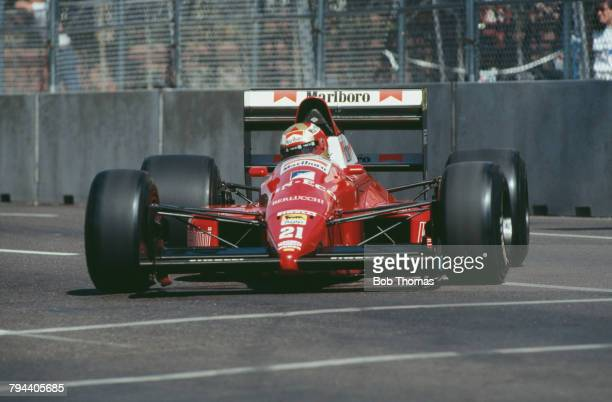 Italian racing driver Alex Caffi drives the Scuderia Italia Dallara 189 Cosworth V8 in the 1989 United States Grand Prix in Phoenix Arizona on 4th...