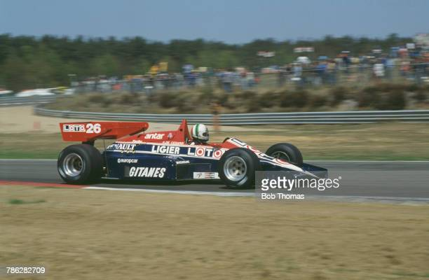 Italian racing driver Andrea de Cesaris drives the Ligier Loto Ligier JS23 Renault EF4 15 V6t in the 1984 Belgian Grand Prix at Circuit Zolder...