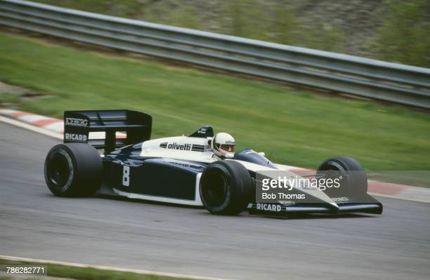 Italian racing driver Andrea de Cesaris drives the Motor Racing Developments Ltd Brabham BT56 BMW M12/13 15 L4t to finish in 3rd place in the 1987...