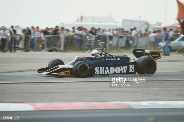 Italian racing driver Elio de Angelis drives the Interscope Shadow Racing Team Shadow DN9 Cosworth V8 to finish in 12th place in the 1979 British...