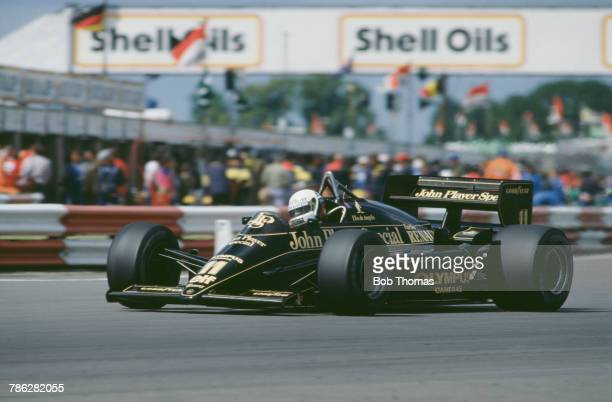 Italian racing driver Elio de Angelis drives the John Player Special Team Lotus Lotus 97T Renault V6 in the 1985 British Grand Prix at Silverstone...