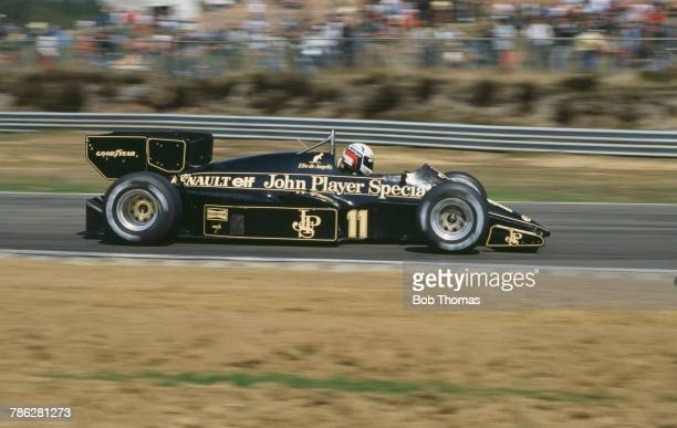 Italian racing driver Elio de Angelis drives the John Player Team Lotus Lotus 95T Renault V6 to finish in 5th place in the 1984 Belgian Grand Prix at...