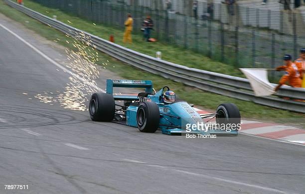 Italian racing driver Ivan Capelli drives the Leyton House March Racing Team March 871 Ford Cosworth DFZ 35 V8 in the 1987 Belgian Grand Prix at...