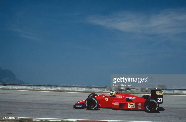 Italian racing driver Michele Alboreto drives the Scuderia Ferrari SpA SEFAC Ferrari F1/87/88C Ferrari 033E 15 V6t to finish in 5th place in the 1988...
