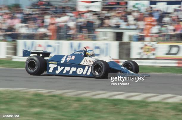 Italian racing driver Michele Alboreto drives the Tyrrell Racing Team Tyrrell 010 Ford Cosworth DFV 30 V8 in the 1981 British Grand Prix at...