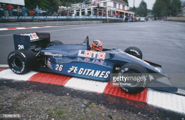Italian racing driver Piercarlo Ghinzani drives the Ligier Loto Ligier JS29B Megatron Straight4t racing car to finish in 7th place in the 1987...