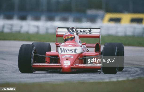Italian racing driver Piercarlo Ghinzani drives the West Zakspeed Zakspeed 881 Zakspeed Straight4t racing car during qualification for the 1988...