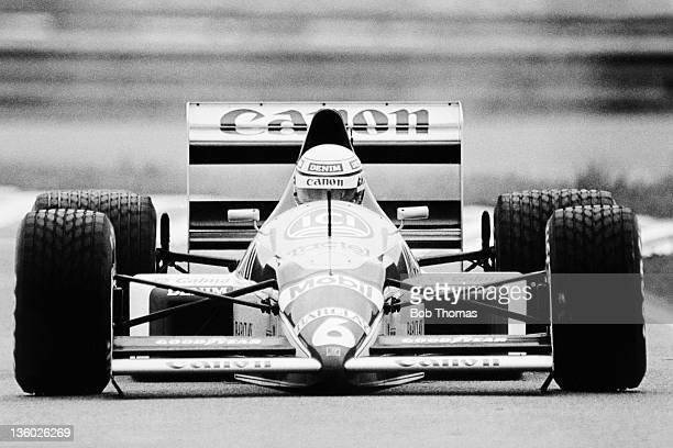 Italian racing driver Riccardo Patrese drives the Canon Williams Team Williams FW12 Judd CV 35 V8 in the 1988 Brazilian Grand Prix in Rio de Janeiro...