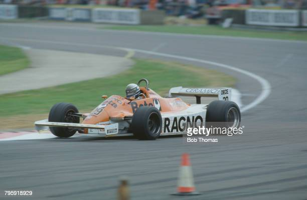 Italian racing driver Riccardo Patrese drives the Warsteiner Arrows Racing Team Arrows A3 Ford Cosworth 30 V8 to finish in 10th place in the 1981...
