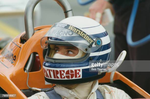 Italian racing driver Riccardo Patrese pictured in the driver's seat of the Warsteiner Arrows Racing Team Arrows A3 Ford Cosworth 30 V8 prior to...