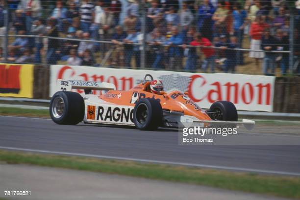 Italian racing driver Siegfried Stohr drives the Arrows Racing Team Arrows A3 Cosworth V8 in the 1981 British Grand Prix at Silverstone Circuit in...