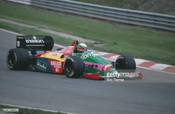 Italian racing driver Teo Fabi drives the Benetton Formula Ltd Benetton B187 Ford Cosworth GBA 15 V6t racing car in the 1987 Belgian Grand Prix at...