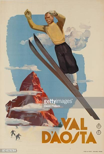Italian rail travel poster of ski jumper in front of Matterhorn ca1930s