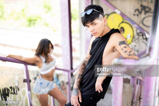 Italian rapper Blind , competitor of the talent show X-Factor in the Under Men category, poses for a photo shoot. Milan , June 26th, 2020