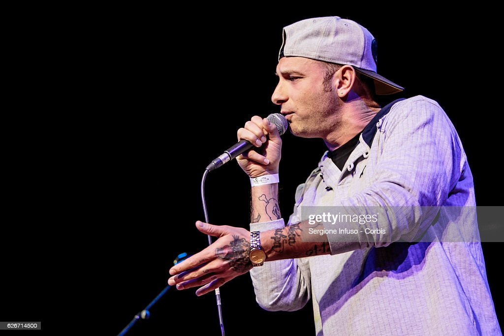 Italian rapper Clementino is a guest of the show 'Sottosopra': Roberto Saviano Meets The Audience on November 28, 2016 in Milan, Italy.