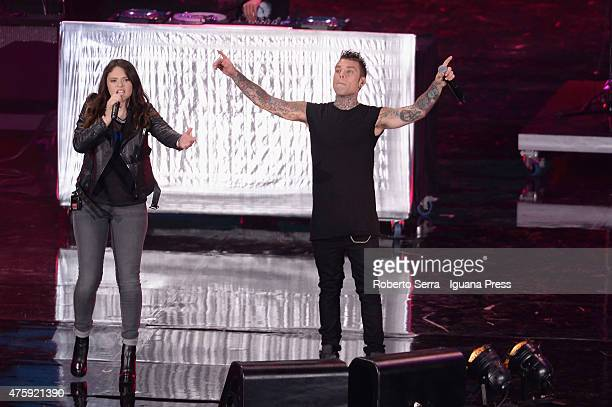 Italian rapper Fedez performs at the 2015 Wind Music Awards at Arena di Verona on June 4 2015 in Verona Italy