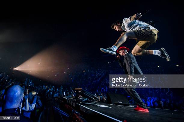 Italian rappers Fedez and J Ax performs in concert at Assago Milano Forum on April 14 2017 in Milan Italy