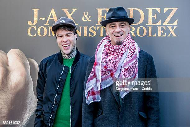 Italian rappers JAx And Fedez attend a photocall for 'Comunisti Col Rolex' album presentation on January 19 2017 in Milan Italy