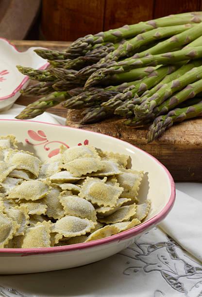 Italian Ravioli pasta with asparagus