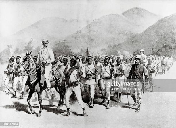 Italian reconnaissance battalion with indigenous soldiers before the Battle of Adwa Ethiopia First ItaloEthiopian War engraving 19th century