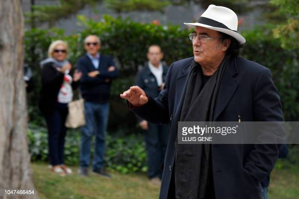Italian recording artist actor and winemaker Albano Carrisi better known as Al Bano arrives to attend the funerals for Spanish opera singer...