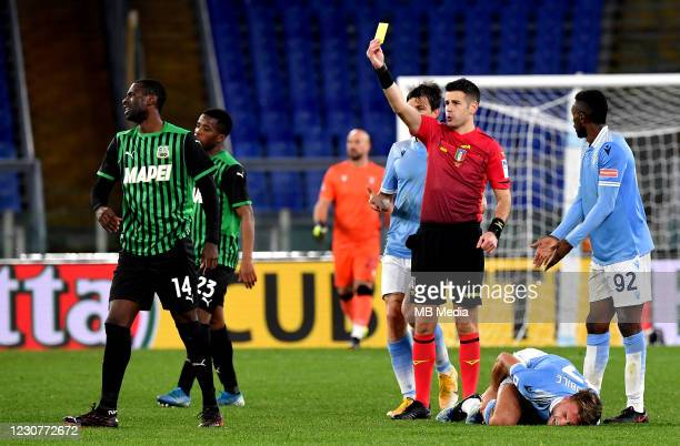 Italian referee Antonio Giua take a yellow card for Pedro Obiang of US Sassuolo ,during the Serie A match between SS Lazio and US Sassuolo at Stadio...