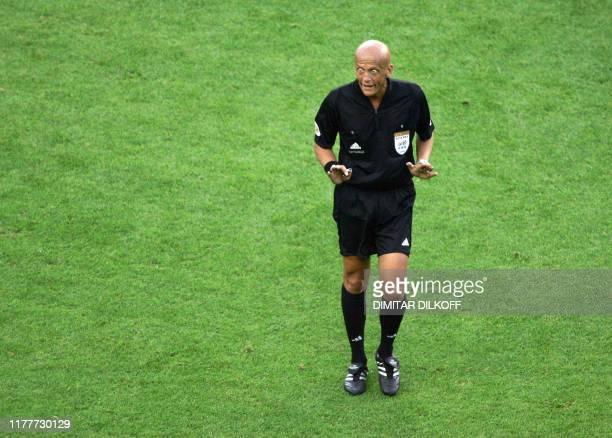 Italian referee Pierluigi Collina is seen 01July 2004 at Dragao stadium in Porto during the Euro 2004 semi final football match between Czech...