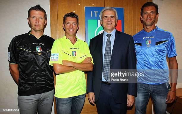 Italian Referees Daniele Orsato Gianluca Rocchi Italian Referees Association President Marcello Nicchi and Paolo Tagliavento pose after a press...