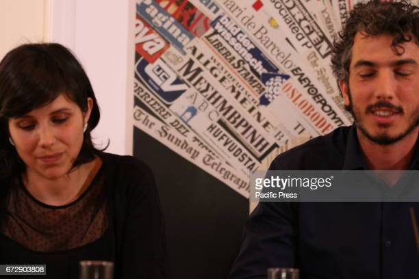 Italian reporter and documentary filmmaker specializing in migrant issues Gabriele Del Grande speaks next to his wife Alexandra D'Onofrio during a...
