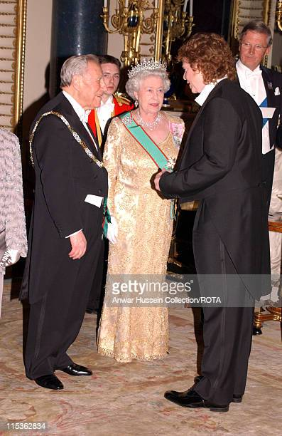 Italian Republic President and HM The Queen Elizabeth II greet Mick Hucknall as a guest of the Queen as she welcomes the Italian Republic President...
