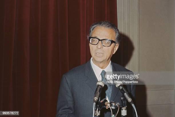 Italian Republican Party politician Ugo La Malfa pictured conducting a press conference in Italy in 1970.