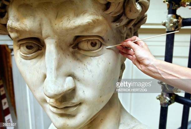 Italian restorer Cinzia Parnigoni works on cleaning one of the world's most famous statues, Michelangelo's David, 15 September 2003 at the Galleria...