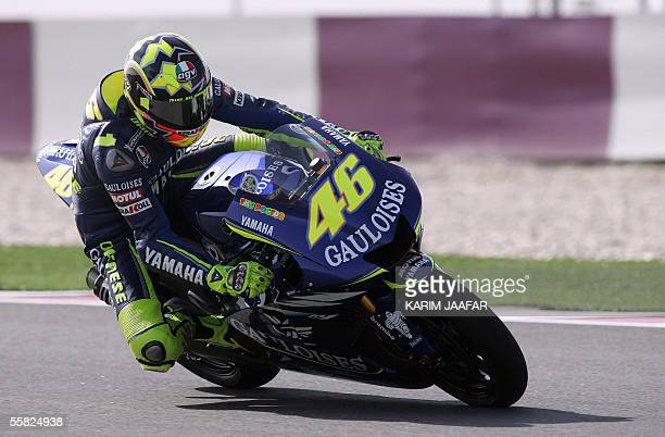 Italian rider and world champion Valentino Rossi of Yamaha speeds during a free practice session of Qatar Grand Prix World Championships in Doha 29...
