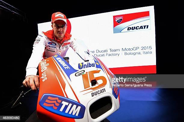 Italian rider Andrea Dovizioso unveils the Ducati Desmosedici Moto GP 2015 Championship at Ducati Factory on February 16 2015 in Bologna Italy