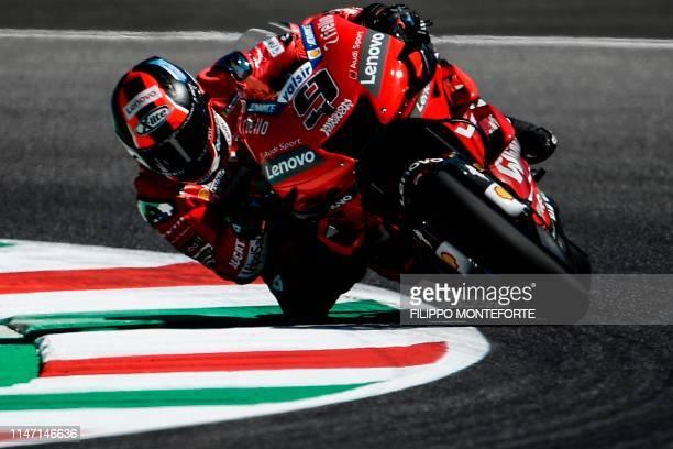 Italian rider Danilo Petrucci rides his Ducati during a free practice session for the Italian Moto GP Grand Prix at the Mugello race track on May 31...