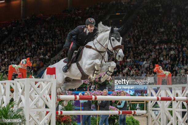Italian rider Emanuele Gaudiano on Caspar 232 competes in the FEI World Cup Jumping event during the Gothenburg Horse Show at Scandinavium Arena on...