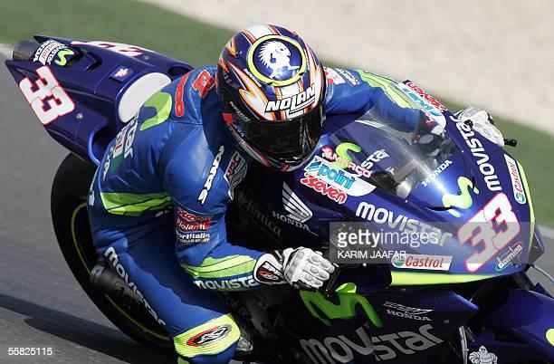 Italian rider Marco Melandri of Honda speeds during a free practice session of Qatar Grand Prix World Championships in Doha 29 September 2005 Qatar...