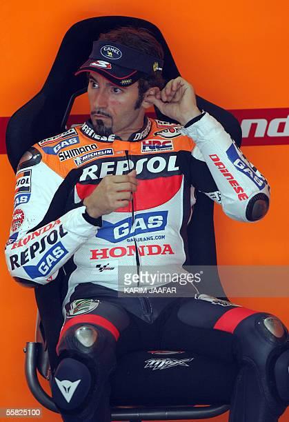 Italian rider Max Biaggi of Honda is seen before a free practice session of Qatar Grand Prix World Championships in Doha 29 September 2005 Qatar Moto...