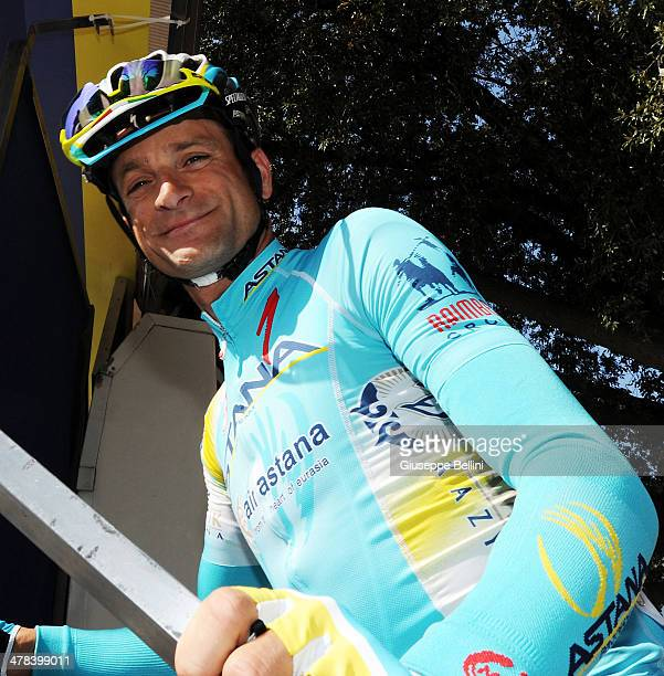 Italian rider Michele Scarponi of Astana Pro Team before of stage two of the 2014 Tirreno Adriatico a 166 km stage from San Vincenzo to Cascina on...