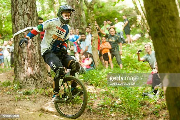 Italian rider Stefan Rabensteiner competes in the munielite downhill finals event of the 18th Unicon in the northern Spanish Basque village of...
