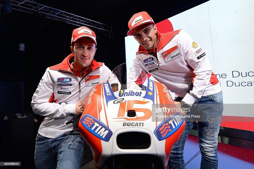Italian riders Andrea Dovizioso (L) and Andrea Iannone (R) unveil the Ducati Desmosedici Moto GP 2015 Championship at Ducati Factory on February 16, 2015 in Bologna, Italy.