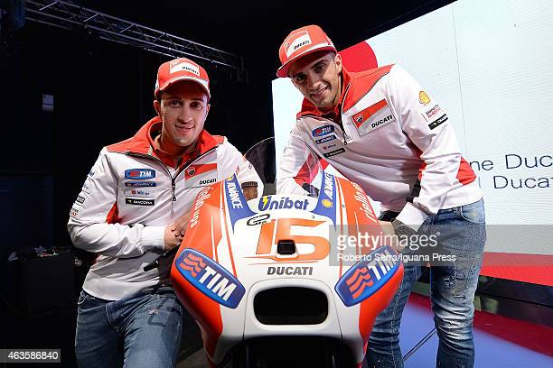 Italian riders Andrea Dovizioso and Andrea Iannone unveil the Ducati Desmosedici Moto GP 2015 Championship at Ducati Factory on February 16 2015 in...
