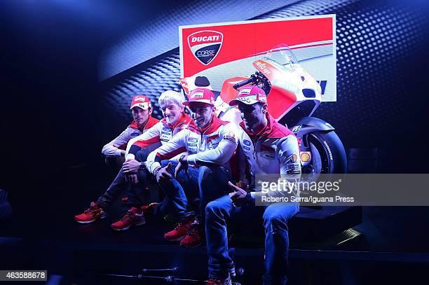 Italian riders Michele Pirro and Andrea Iannone and engineer Luigi Dall'Igna and rider Andrea Dovizioso unveil the Ducati Desmosedici Moto GP 2015...