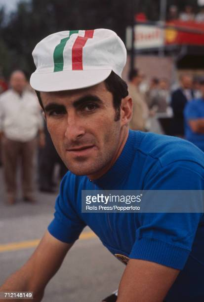 Italian road racing cyclist Franco Bitossi pictured during competition to finish in 4th place in the 1968 UCI Road World Championships at Imola in...