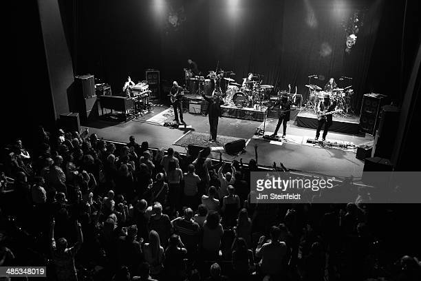 Italian rock star Zucchero performs with his band at the Nokia Theatre in Los Angeles California on April 2 2014