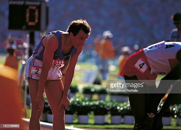 Italian runner Donato Sabia having a rest after the 800metres final during the Los Angeles Olympic Games when he came in fifth Los Angeles 1984