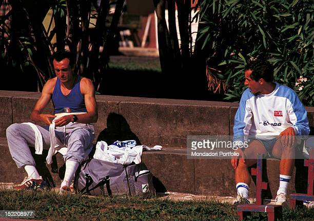 Italian runner Donato Sabia having a rest with the Italian sprinter Pietro Mennea at Los Angeles Olympic Games Los Angeles 1984