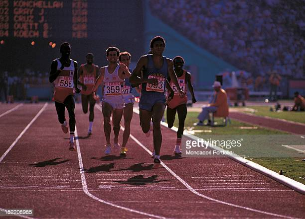 Italian runner Donato Sabia taking part with the Brasilian runner Joaquim Cruz and the British runner Sebastian Coe to the 800metres final during the...