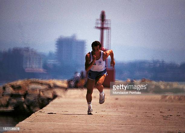 Italian runner Donato Sabia training at Los Angeles Olympic Games Los Angeles 1984